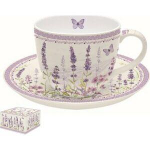 Csésze+alj 200ml porcelán egyszemélyes, dobozban Lavender Field