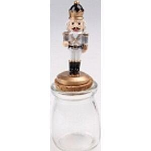 Diótörő figura színes üvegen 16cm arany ezüst