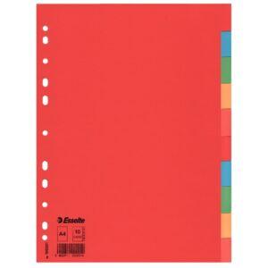 Elválasztó lap Esselte ECONOMY karton, 10 részes, A4 Esselte 1db rendelési egység ár 1db-ra