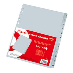 Elválasztó műanyag 1-10 A4 műanyag szürke regiszteres FORNAX