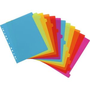 Elválasztó regiszter 12részes VIQUEL Happy Fluo PP, A4 Maxi, színes Iratrendezés VIQUEL 154731-06