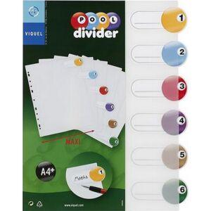 Elválasztó regiszter 6részes VIQUEL PP, A4 Maxi, színes Iratrendezés VIQUEL 153416-06