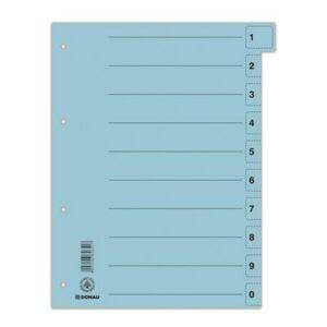 Elválasztó regiszter A4 Donau karton mikroperforált kék 50ív/csom Iratrendezés DONAU 8611001-10