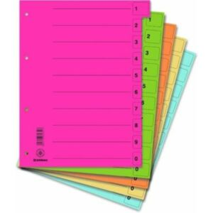 Elválasztó regiszter A4 Donau karton mikroperforált ve.szín 5x10ív/cs Iratrendezés DONAU 8611001S-99