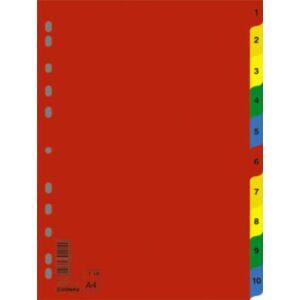 Elválasztó regiszter A4 Donau műanyag 1-10-ig színes Iratrendezés DONAU 7712095PL-99