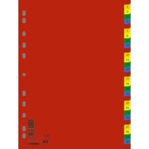 Elválasztó regiszter A4 Donau műanyag 1-31-ig színes Iratrendezés DONAU 7736095PL-99