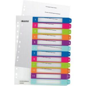 Elválasztólap A4 Maxi Leitz Wow 1-12 nyomtatható 12440000