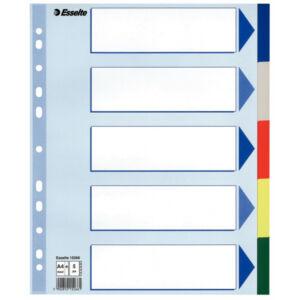 Elválasztólap Esselte Műanyag lap 5 részes A4 Maxi Esselte 20db rendelési egység ár 1db-r