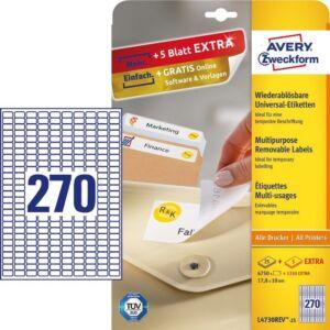 Etikett Avery 17, 8x10 -270- -L4730REV-25- 25lap/dob