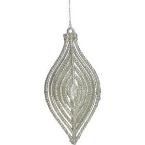 Karácsonyi 15cm ezüst csepp forma 15x7cm ezüst glitteres karácsonyfa dísz dekor trend 2019/20