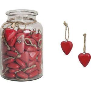 Fa szív piros dekoráció 20' 5cm felakasztós kézzel festett exkluzív termék