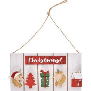 Fa tábla csipeszes akasztós 32x22,5x12cm karácsonyi natúr/piros Dekor trend 2019/20
