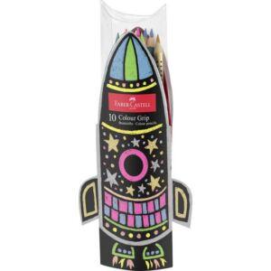 Faber-Castell színes ceruza Grip 10db rakéta alakú papír tartóban FC-színes ceruza készlet 201643