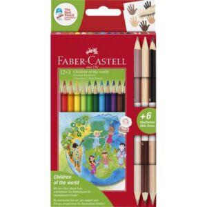 Faber Castell színes ceruza 12+3db bicolor ceruza (6 bőrszín) A világ gyermekei 201744