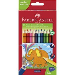 Faber-Castell színes ceruza 12db háromszögletű Jumbo+hegyező 116501