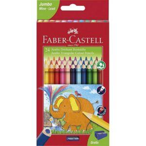 Faber Castell színes ceruza 24db  háromszögletű Jumbo+hegyező
