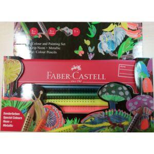 Faber-Castell színes ceruza 10db Grip Jumbo készlet 110940 mbo neon-metál +hegyező fém tolltartóban