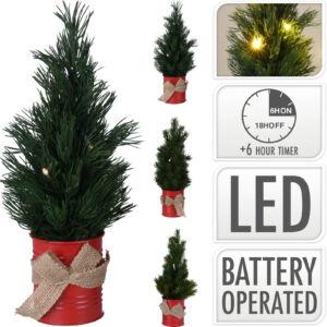 Fenyőfa 35cm led világítással 20 3 féle típusban műfenyő fém dobozban jutazsák masnival elemes
