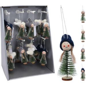 Karácsonyfa 12cm dísz figura 3féle mintával kézzel készült fenyőfa figura