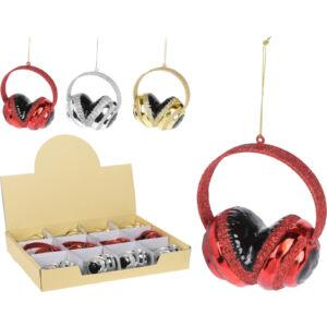Fenyőfa dekoráció headset akasztós 3féle csillámos színben piros-arany-ezüst színekben