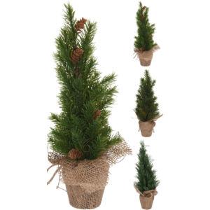 Fenyőfa 35cm jutazsákban 20 3féle mintával műfenyő dús levelekkel