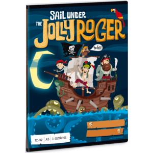 Füzet 12-32 A5 vonalas Ars Una Jolly Roger Kalózos (806) 18' 3.osztályos prémium minőségű füzet
