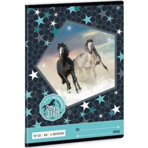 Füzet 12-32 A5 vonalas Ars Una Morning Star - lovas 19 3.osztályos prémium minőségű füzet