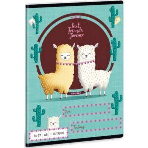Füzet 14-32 A5 vonalas Ars Una Best Friends-Láma kollekció 1. osztályos füzet prémium minőség