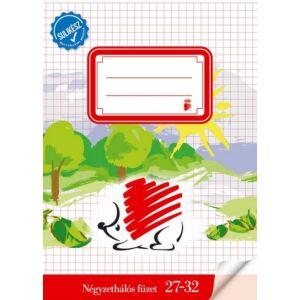 Füzet 27-32 A5 kockás Süni Sulikész fóliával kötött kockás füzet prémium füzet négyzethálós
