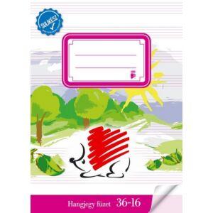 Füzet 36-16 A5 hangjegy Ico Sulikész fóliával kötött kotta füzet Ico Süni iskolaszezonos tanszerek