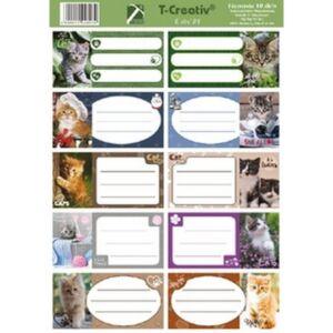 Füzetcímke Cats T-Creativ keretes, vegyes minták,10db/ív