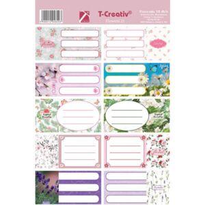 Füzetcímke Flowers T-Creativ keretes, vegyes minták,10db/ív