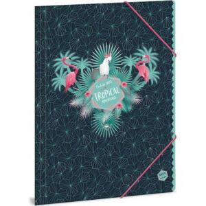 Gumis mappa A4 Flamingó 18' Pink Flamingós (868) - Ars Una iskolaszezonos gumis dosszié kollekció