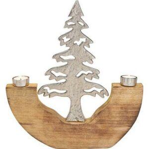 Gyertyatartó mangófa-fém 20 fenyőfa 39x43x4cm 2db mécsestartóval exkluzív termék