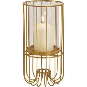 Gyertyatartó gold 20' fém és üveg 10x20x10cm