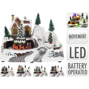 Téliváros karácsonyi havas falu ledes világítással diadora