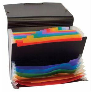 Harmonika mappa VIQUEL Rainbow Class 12+6 rekeszes PP fekete VIQUEL 110687-05