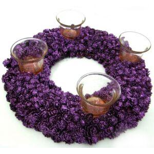Asztaldísz apró virágos kerek 4 mécsestartóval