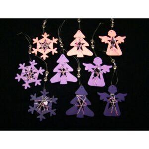 Karácsonyi dísz fenyőfa lila, rózsaszín gyöngy