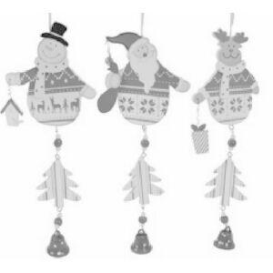 Karácsonyfa dekor függődísz 24cm ezüst színű mikulás csengővel