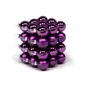 Karácsonyi 3cm gömb 20' üveg sötét lila fényes-matt