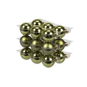 Karácsonyi 4cm gömb 20' üveg natúr zöld fényes-matt