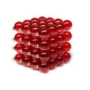 Karácsonyi 4cm gömb 20' üveg piros