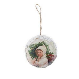 Karácsonyi 8cm gömb 20' kislánnyal glitteres papír fehér