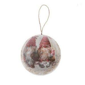 Karácsonyi 10cm gömb 20' manókkal glitteres papír fehér