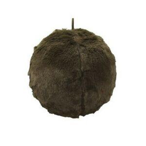 Karácsonyi 13cm gömb 20' textil barna