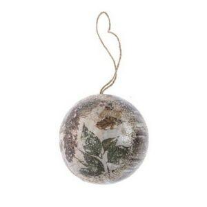 Karácsonyi 10cm gömb 20' tobozzal glitteres papír barna