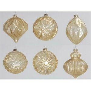 Karácsonyi 15cm gömb 20' Dísz antik matt arany
