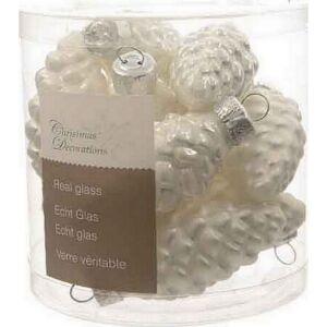 Karácsonyi 6cm gömb üveg toboz alakú, 60mm-es Karácsonyi dísz fehér színű, matt és fényes kivitelben