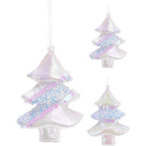 Karácsonyfa 11cm dísz 2féle mintával glitteres flitteres